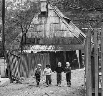 Children playing in the streets of Old Town Jajce, 1970