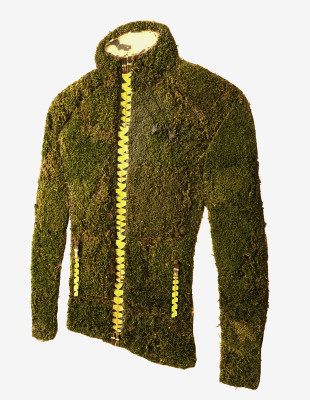 Jacket made from moss and other plant materials